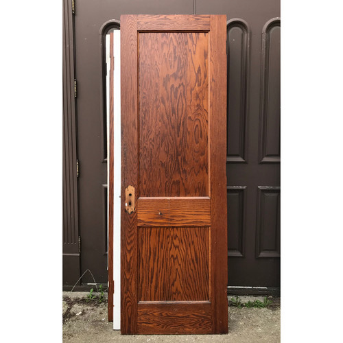 D18062 - Antique Oak Traditional Two Flat Panel Interior Door 28