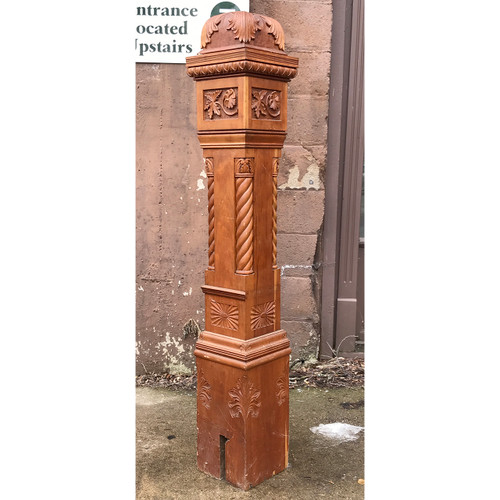 S18007 - Antique Late Victorian Carved Cherry Newel Post