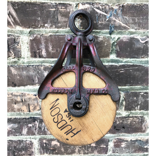 A18071 - Antique Wood and Iron Pulley