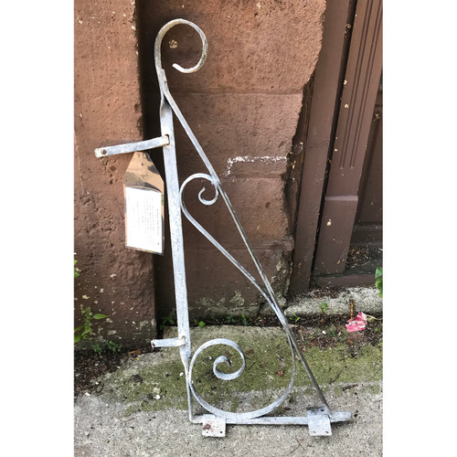 S18037 - Antique Revival Period Wrought Iron Hanging Sign Bracket