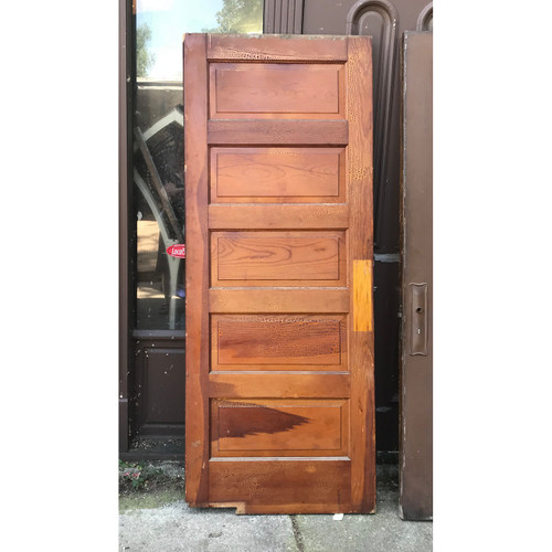 "D18089 - Antique Interior Five Panel Swinging Door 31-3/4"" x 79-1/2"""