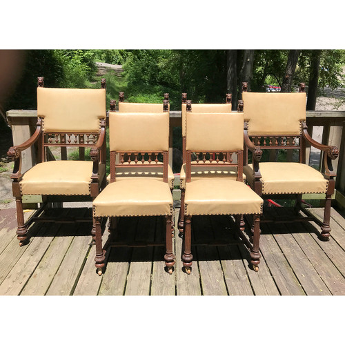 F18084 - Set of Six Antique Oak Dining Chairs