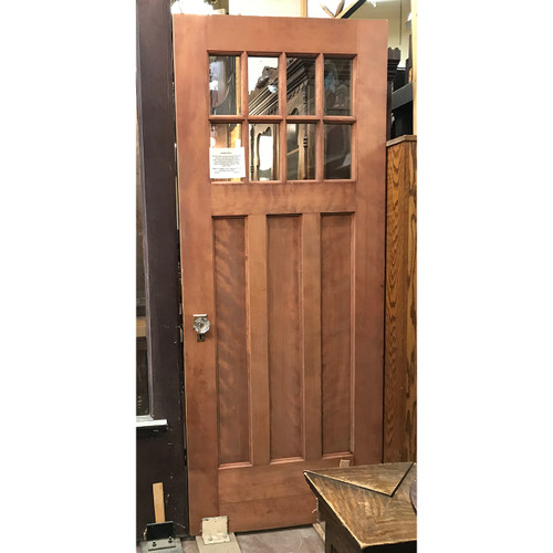 """D18106 - Antique Arts and Crafts Birch and Oak  Interior Door with Glass 32"""" x 77-1/4"""""""