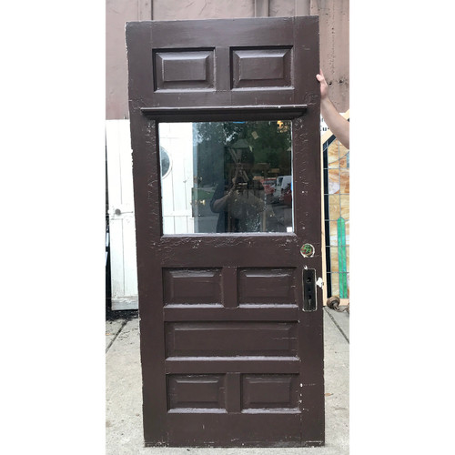 "D18119 - Antique Late Victorian Paneled Exterior Door with Partial Glass 35-3/4"" x 82"""