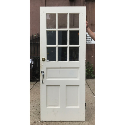 """D18126 - Antique Revival Period Painted Pine Exterior Door with Glass 32"""" x 81"""""""