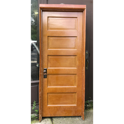 "D18139 - Antique Pine Five Horizontal Raised Panel Interior Door with Jamb 32"" x  81-1/2"""