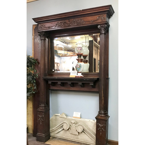 M18018 - Antique Late Victorian Quartersawn Oak Mantel