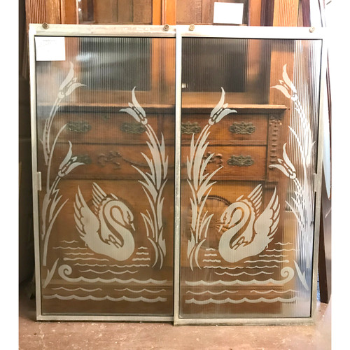 P18013 - Pair of Vintage Mid Century Shower Doors with Frame and Track