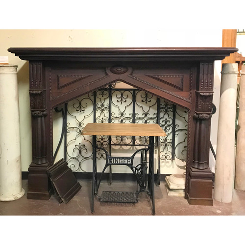 M18021 - Antique Victorian Era Carved Cuban Mahogany Half Mantel