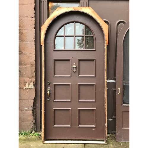 "D18165 - Antique Revival Period Pine Exterior Arched Door in Jamb with Screen 42"" x 89-3/4"""