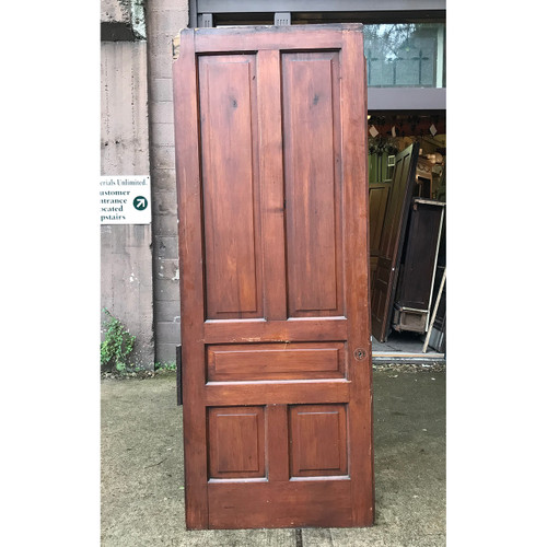 "D18183 - Antique Victorian Butternut Traditional Five Panel Interior Door 36-1/2"" x 94-3/4"""