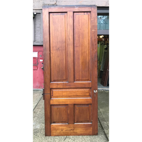 "D18184 - Antique Victorian Butternut Traditional Five Panel Interior Door 40"" x 94-3/4"""