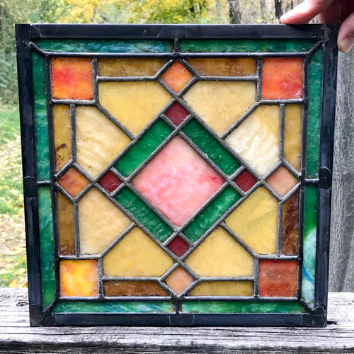 G18081A - Antique Arts & Crafts Stained Glass Window