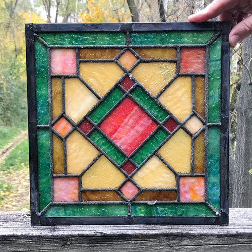 G18081B - Antique Arts & Crafts Stained Glass Window