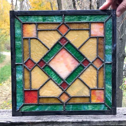 G18081C - Antique Arts & Crafts Stained Glass Window