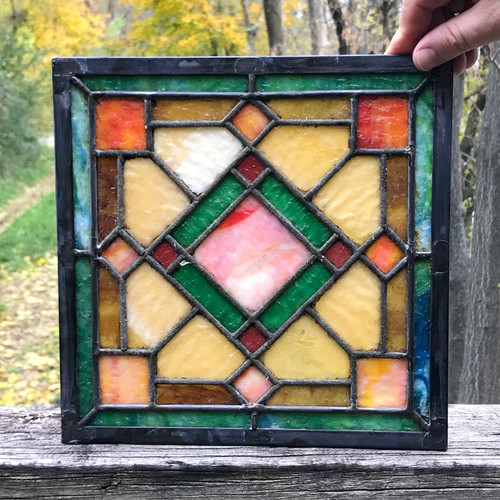 G18081D - Antique Arts & Crafts Stained Glass Window