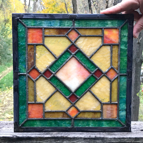 G18081E - Antique Arts & Crafts Stained Glass Window