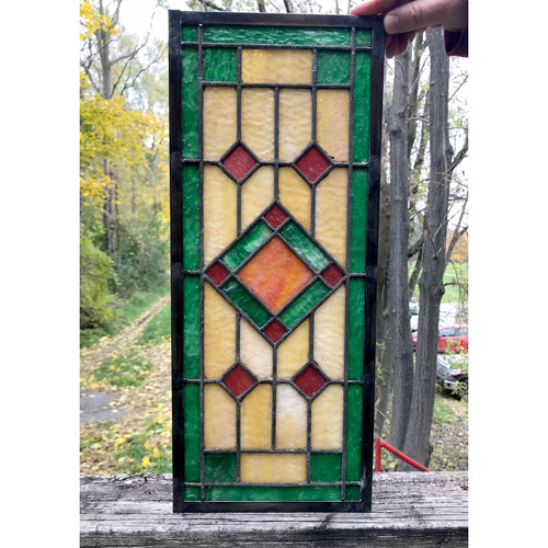 G18083A - Antique Arts & Crafts Stained Glass Window
