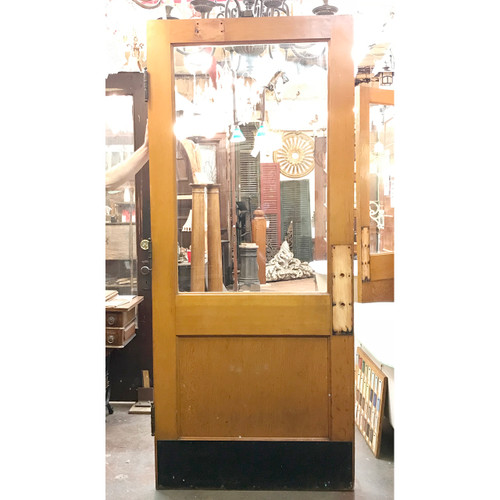 "D18200 - Antique Revival Period Pine Exterior Door with Partial Glass 36"" x 83-3/4"""