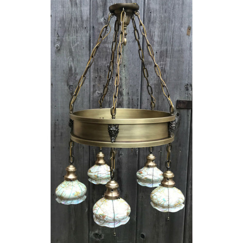 "L18169 - Antique Five Light ""Ring"" Fixture With Fostoria Art Glass Shades"