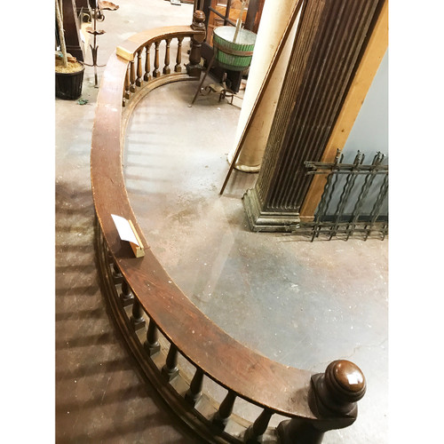 S18093 - Pair of Antique Oak and Ash Curved Balustrade Railing