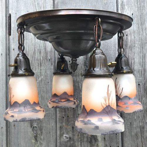 L19035 - Antique Colonial Revival Flush Mount Pan Fixture With Scenic Shades