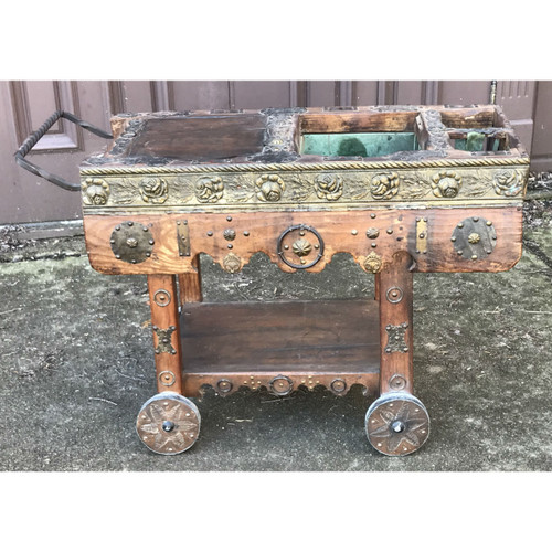 F19034 - Vintage East Indian Wood and Embossed Metals Serving Cart