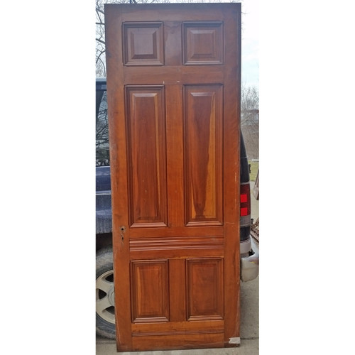 "D19032 - Antique Victorian Six Panel Cherry Door 35-3/4"" x 95-1/4"""