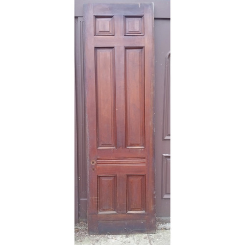 "D19034 - Antique Victorian Six Panel Walnut Door 31-1/2"" x 104-1/4"""