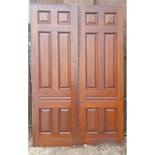 "D19037 - Pair of Antique Victorian Six Panel Walnut & Cherry Doors 35-3/4"" x 95-1/2"""