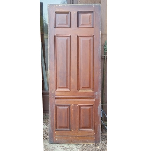 "D19038 - Antique Victorian Six Panel Walnut Door 35-7/8"" x 95-1/2"""