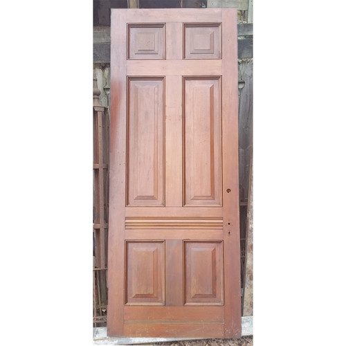 "D19039 - Antique Victorian Six Panel Walnut Door 35-7/8"" x 95-1/4"""