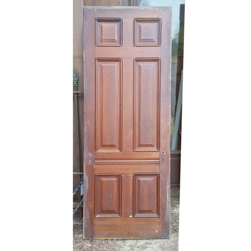 "D19042 - Antique Victorian Six Panel Cherry Door 35-3/4"" x 95-3/4"""