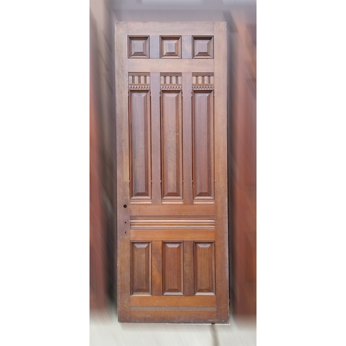 "D19046 - Antique Victorian Nine Panel Walnut Door 38-1/8"" x 99-1/4"""