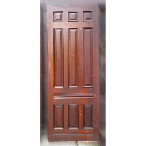 "D19048 - Antique Victorian Nine Panel Walnut Door 38-1/8"" x 99-1/2"""