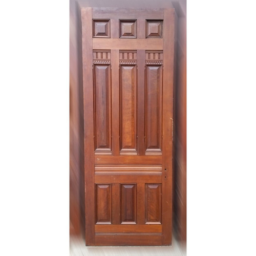 "D19049 - Antique Victorian Nine Panel Walnut Door 38-1/8"" x 99-3/8"""