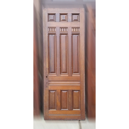 "D19050 - Antique Victorian Nine Panel Walnut Door 38-1/8"" x 99-1/2"""