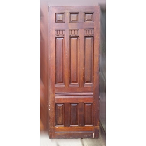 "D19051 - Antique Victorian Nine Panel Walnut Door 37-3/4"" x 99-3/4"""