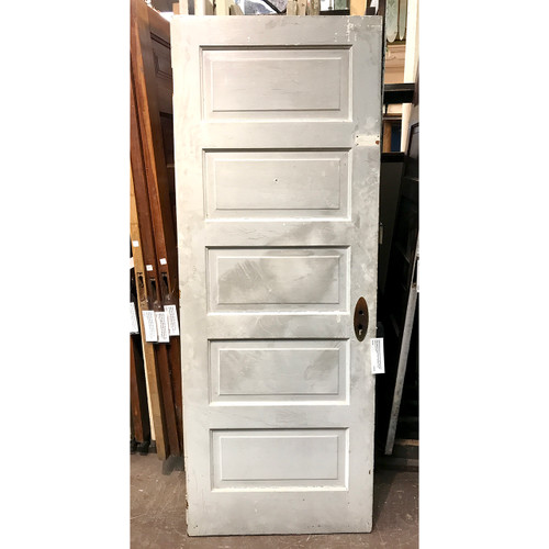 "D19120 - Antique Painted and Varnished Pine Five Horizontal Panel Interior Door 30"" x 78-3/4"""