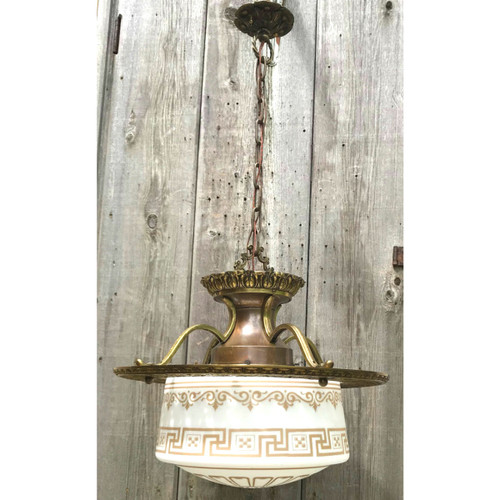 L19097 - Antique Brass Pendant Fixture With Schoolhouse Shade