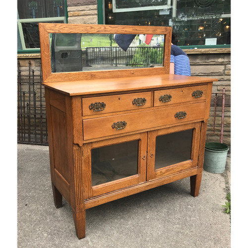 F19056 - Antique Quartersawn Oak Revival Period Sideboard