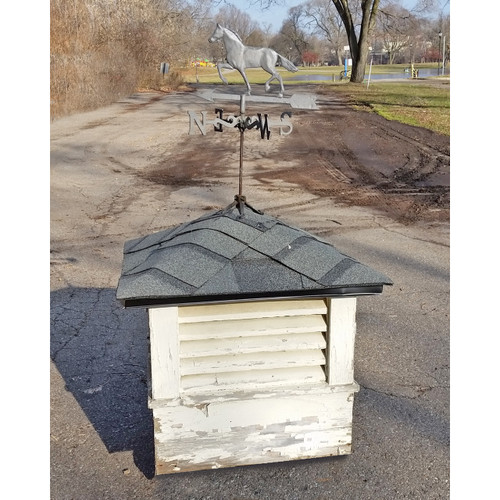 S19012 - Vintage Painted Pine Cupola Vent with Directional Weathervane