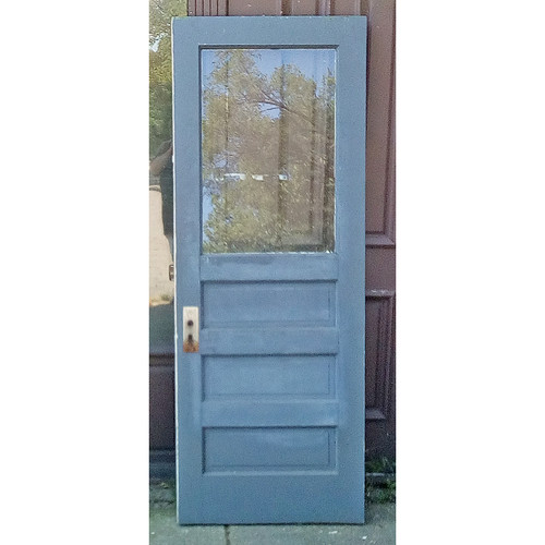 "D19087 - Antique Exterior Painted Pine Paneled Door with Partial Glass 29-3/4"" x 79"""