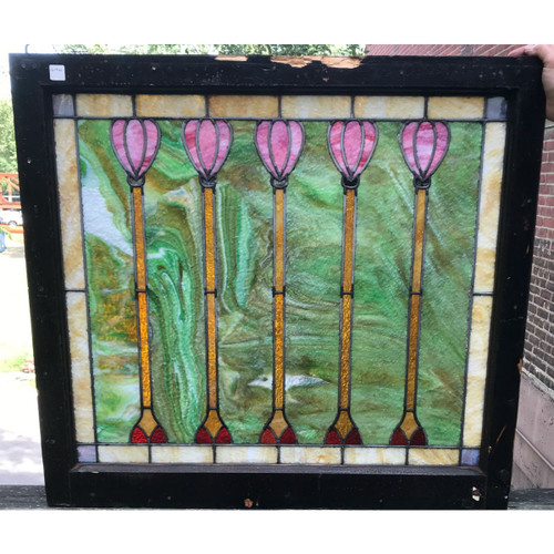 G19121A - Antique Arts & Crafts Stained Glass  Window