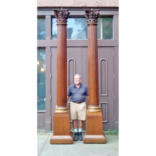 S19025 - Amazing Pair of Antique Oak Columns