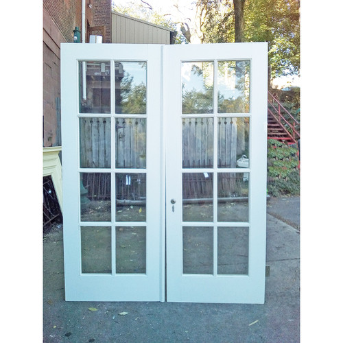 "D19107 - Pair of Antique Birch 8 Light French Door 64-1/2"" x 83-1/2"""