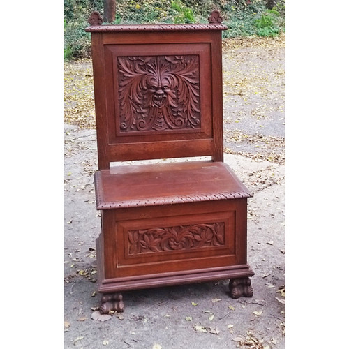 F19092 - Antique Ornately Carved Hall Chair