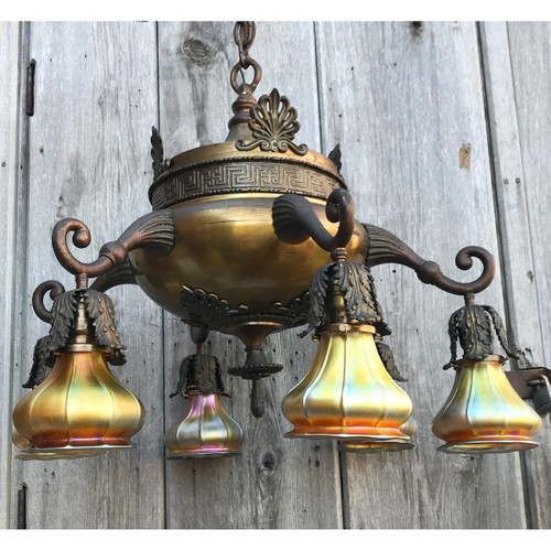 L19181 - Antique Colonial Revival Six Arm Fixture