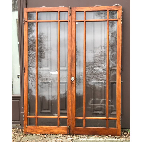 "D19117A - Pair of Antique Oak 9 Light Marginal French Doors 64-1/4"" x 83-3/4"""