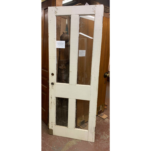 "D19119 - Antique Victorian Walnut Door with Four Glass Panels 31-1/2"" x 82"""